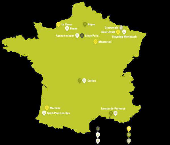 Carte de France - Ateliers maintenance