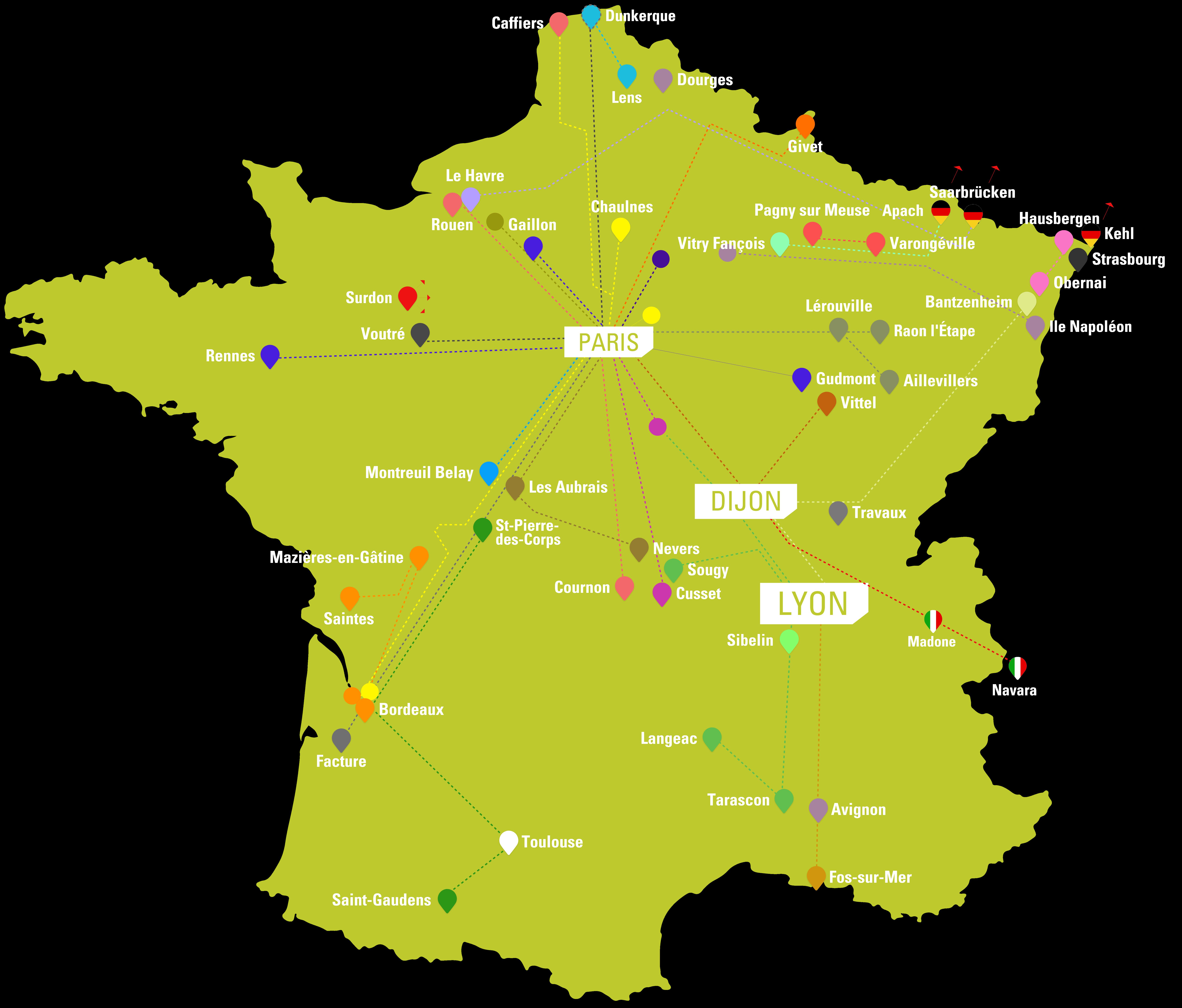 Carte de France -Trajet du Transport de Marchandises
