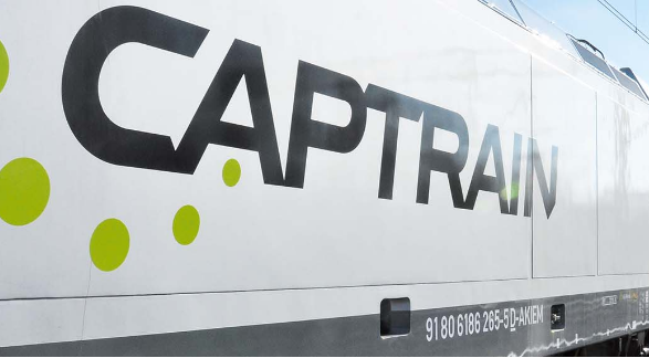 Logo Captrain noir sur Train